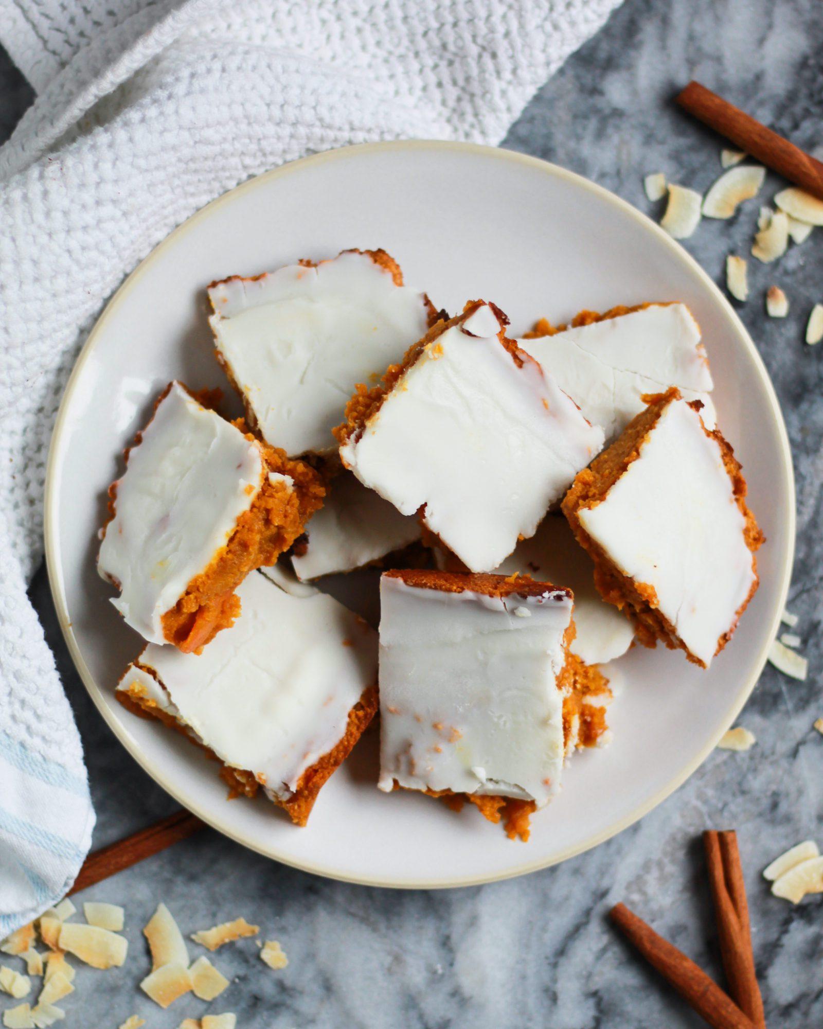 plate of paleo vegan carrot cake bars