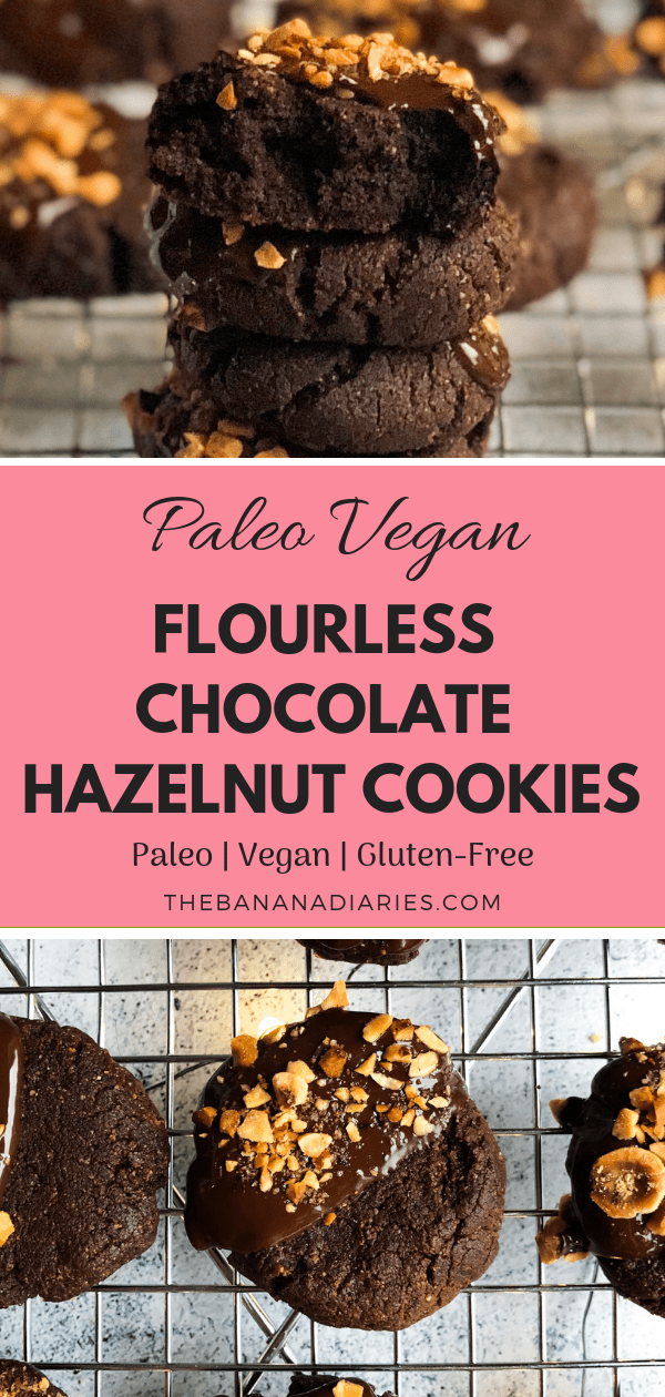 Paleo vegan flourless chocolate hazelnut cookies that are every bit as delicious as a spoonful of Nutella and made with 6 real and simple ingredients!