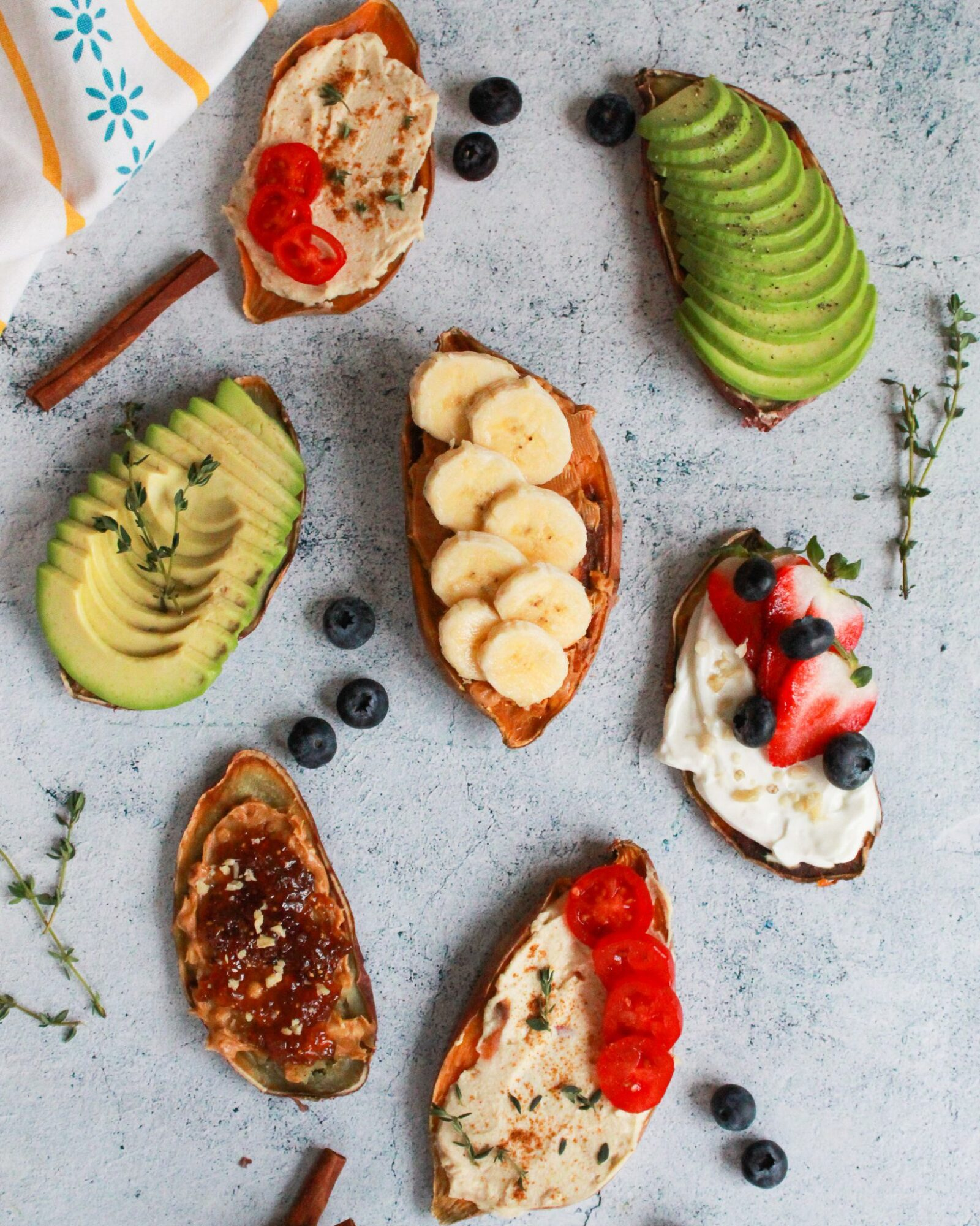 Easy gluten free sweet potato toast with 5 different vegan toppings that are perfect for breakfast or a snack! Perfect for a Whole30, paleo, vegan, gluten free, or anything diet!