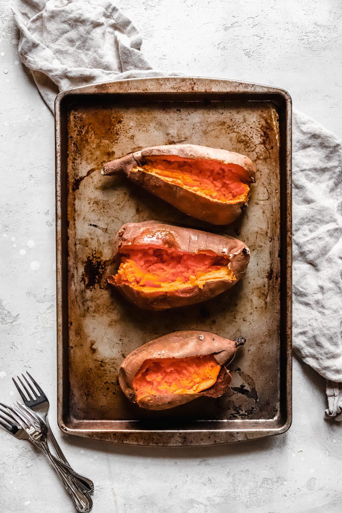 sliced open sweet potatoes