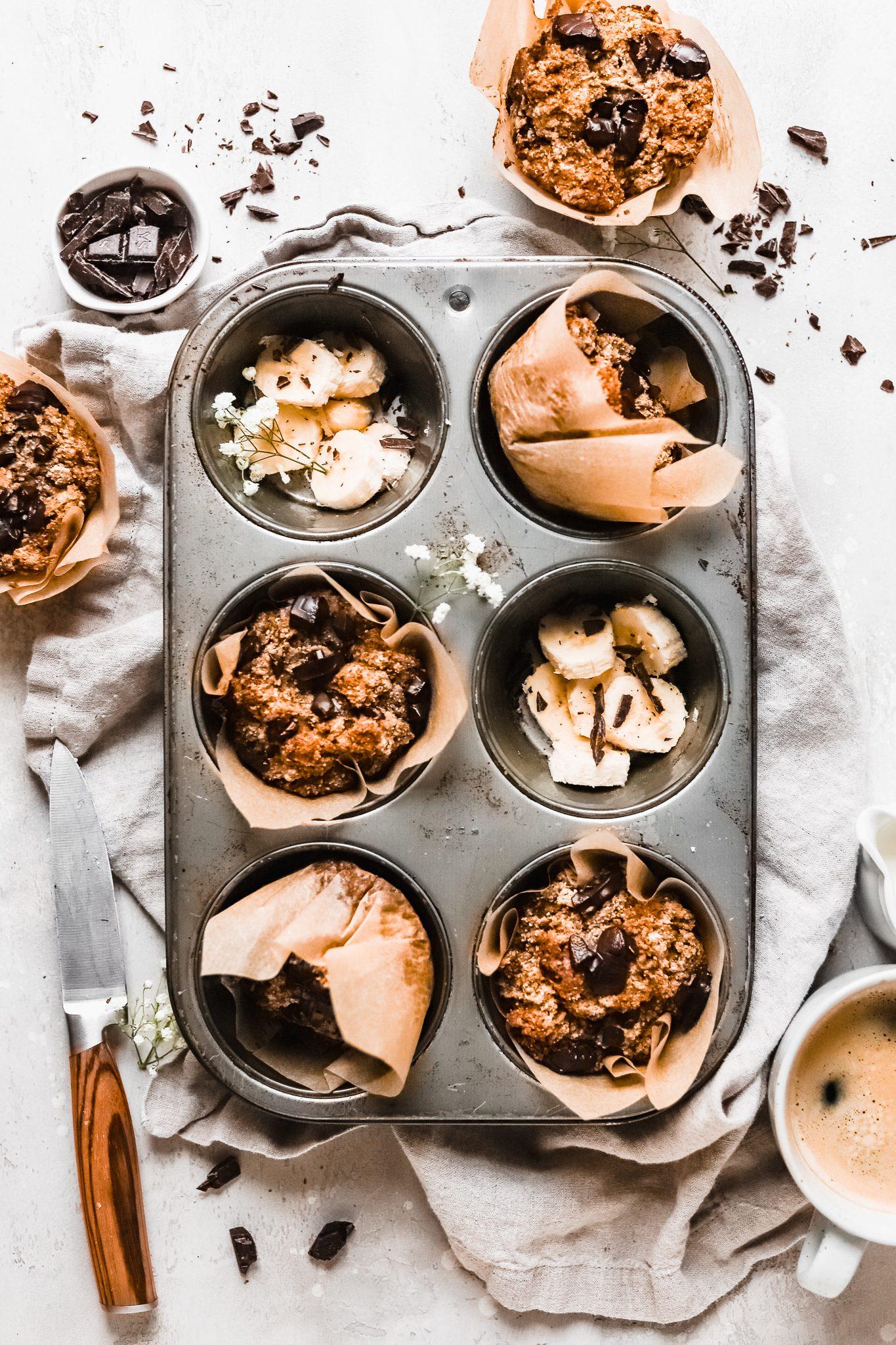 banana muffins in a tin