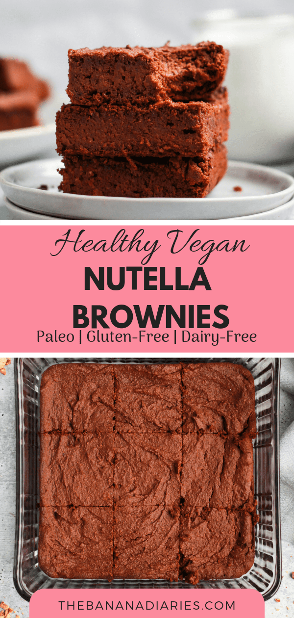 Healthy Vegan Nutella Brownies | These healthy vegan Nutella brownies are fudgy, gooey, and so delicious! Made with sweet potato, they're completely paleo and gluten free as well! | #thebananadiaries #nutella #paleobrownies #vegan #grainfree #healthydessert
