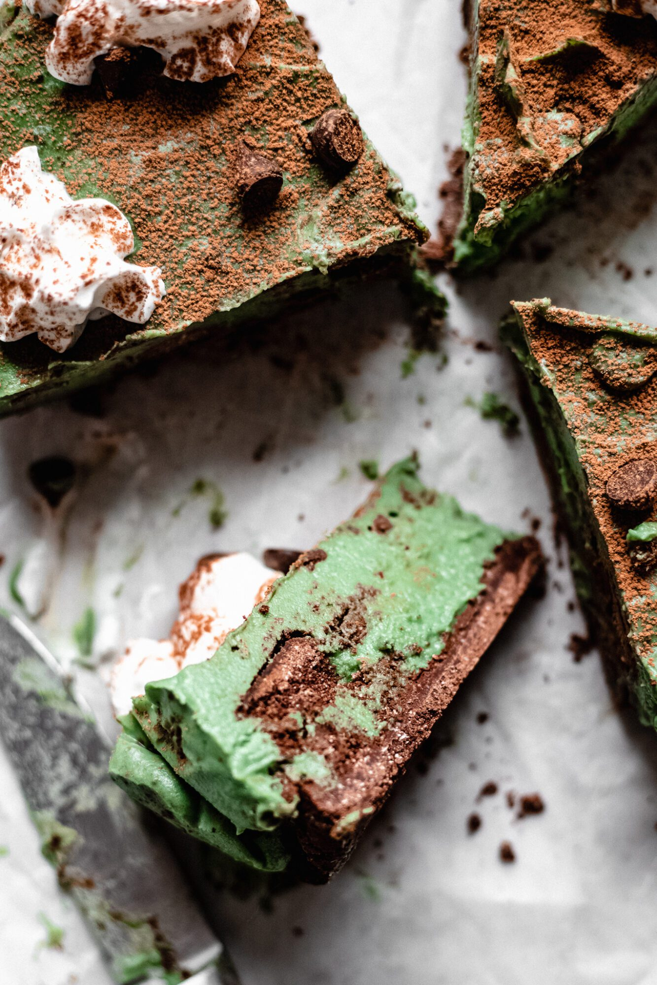 slices of healthier grasshopper pie