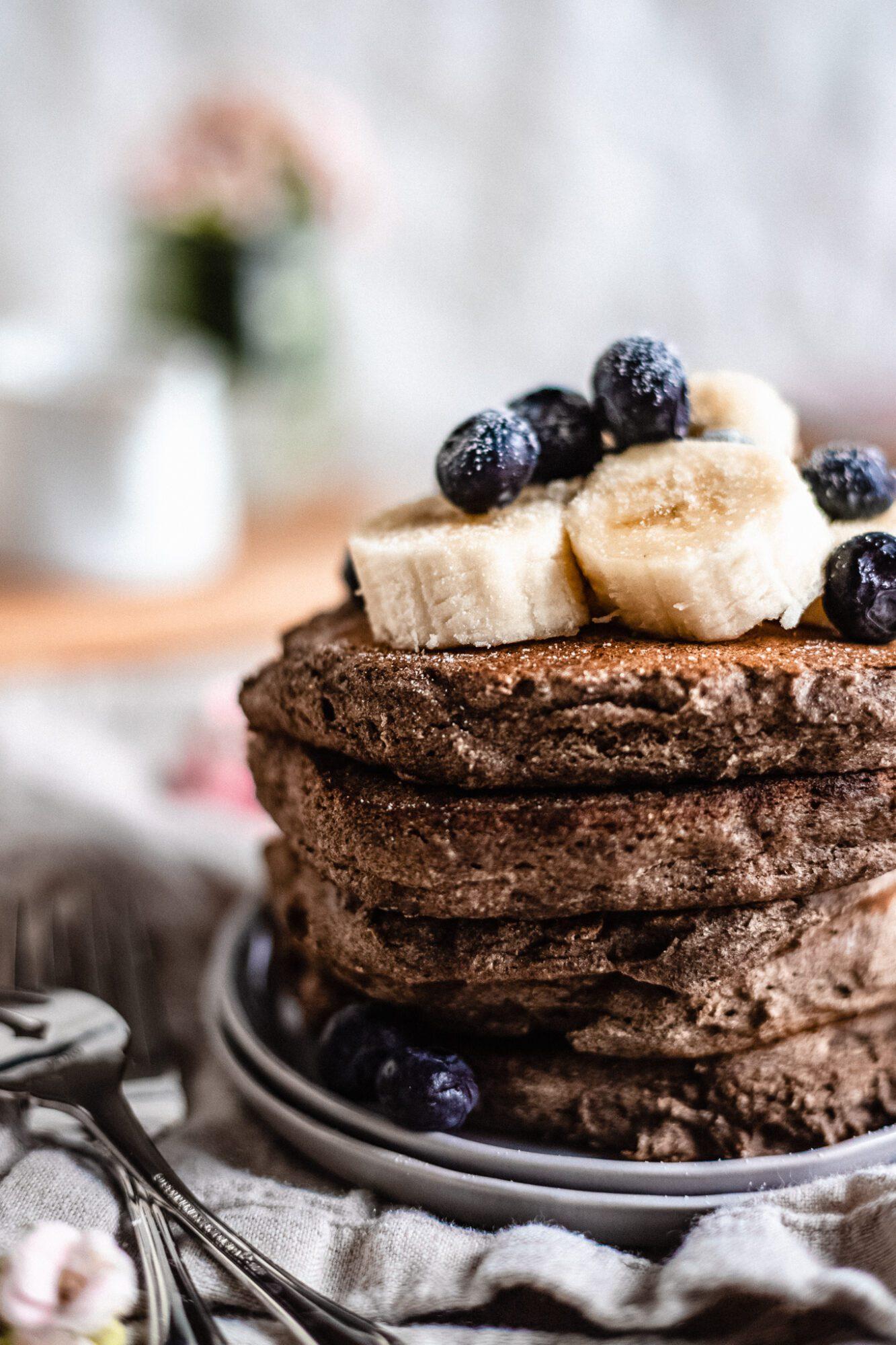 close up of healthy buckwheat pancakes