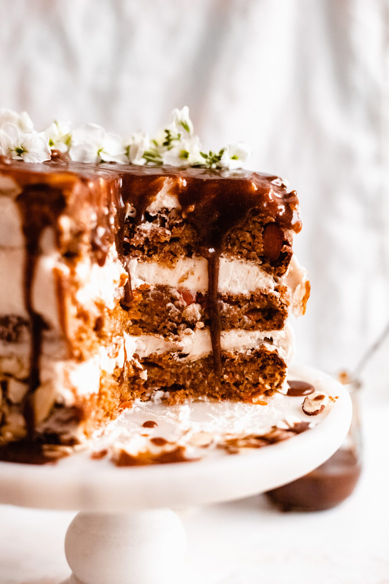 close up of healthy carrot cake sliced