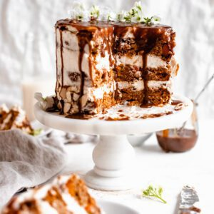 cake with salted caramel drizzling down