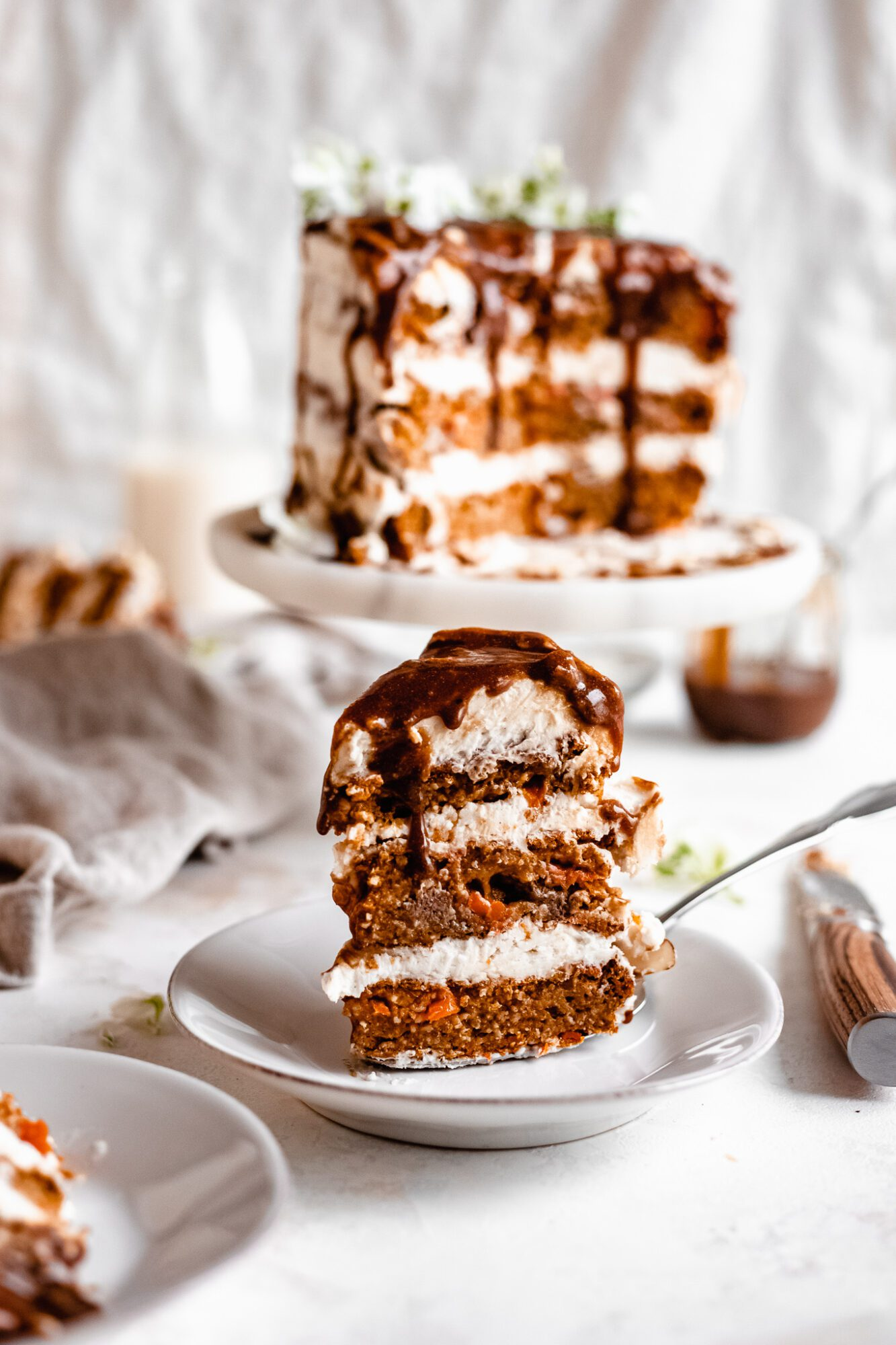 slice of carrot cake standing up