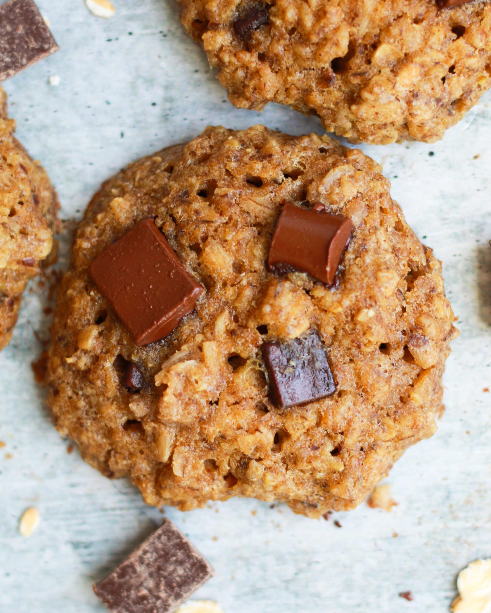 close up of vegan oatmeal chocolate chip cookie
