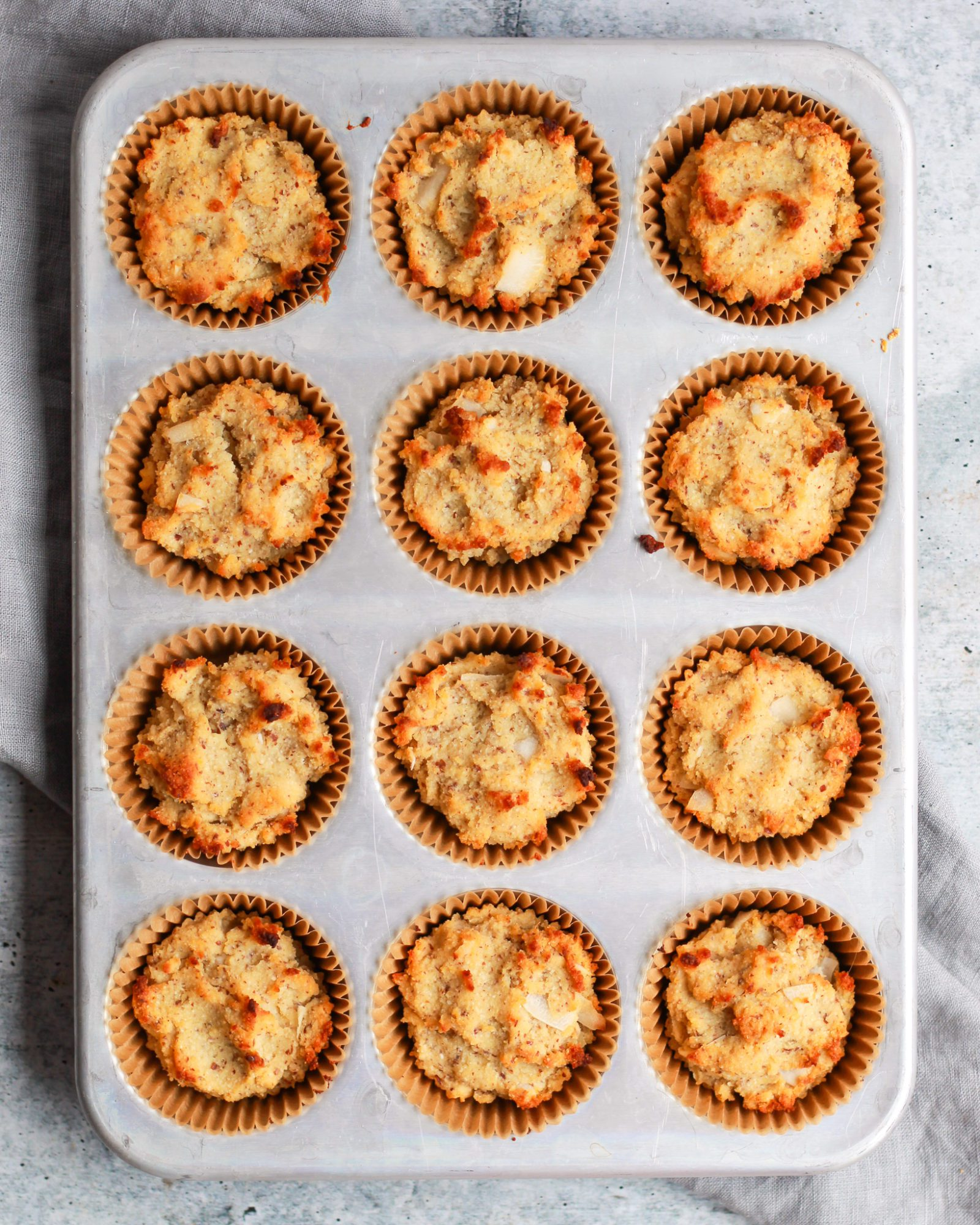 healthy coconut cupcakes in muffin tin