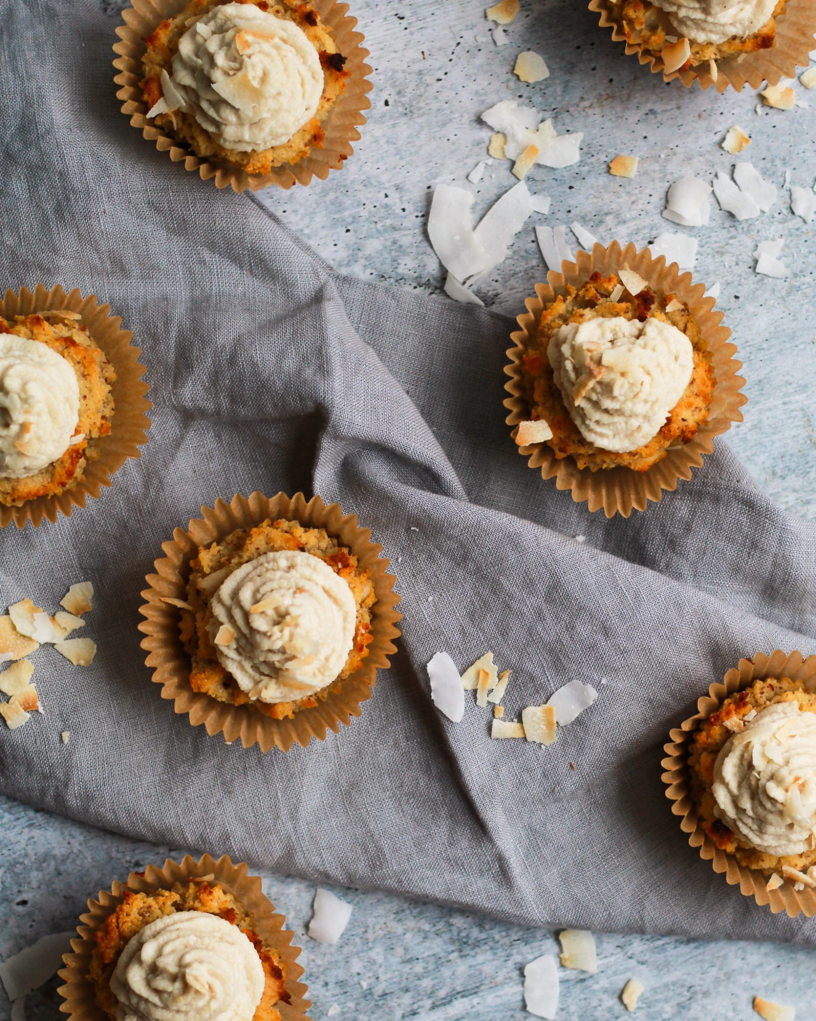 scattered vegan coconut cupcakes