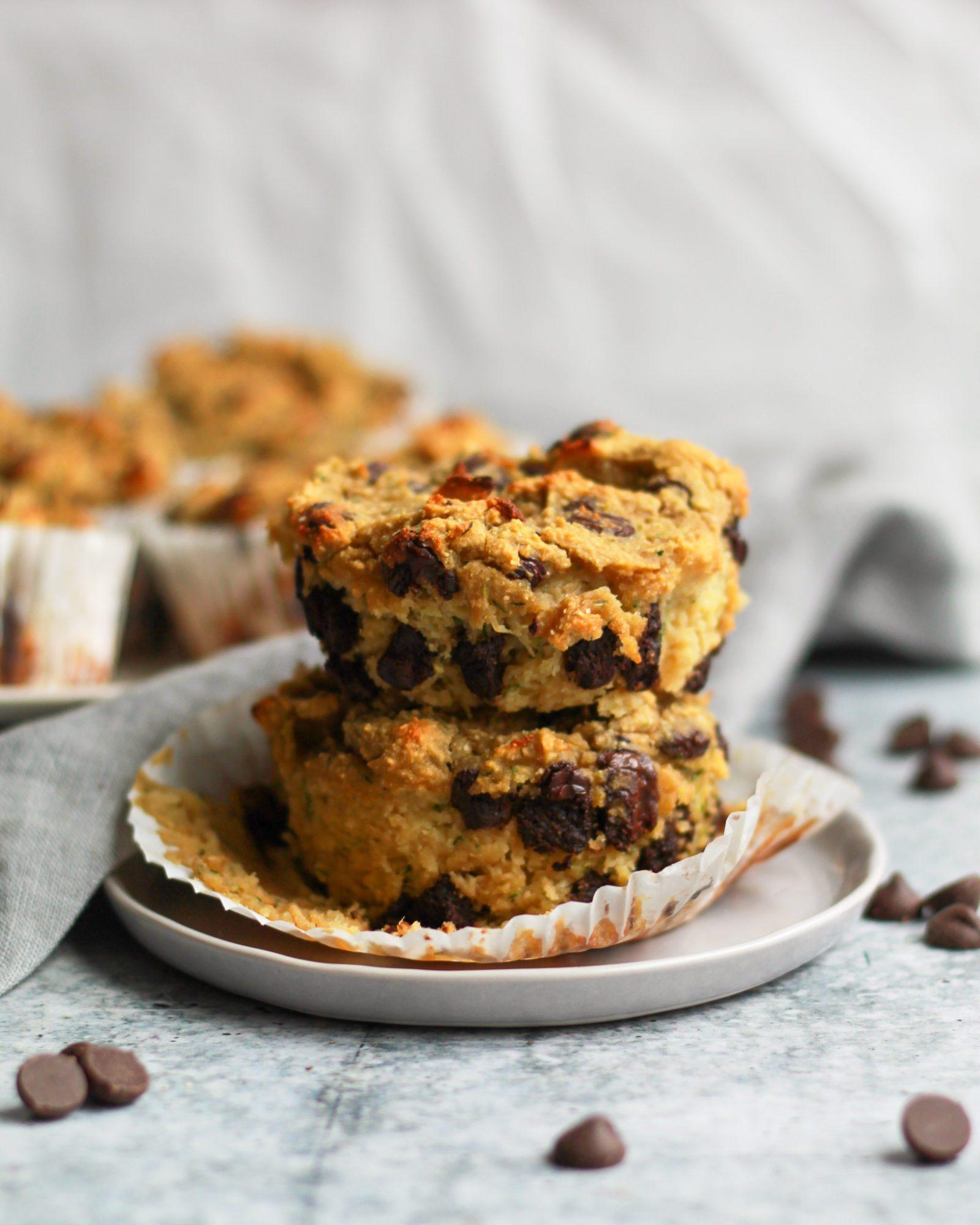 paleo chocolate chip zucchini muffins stacked
