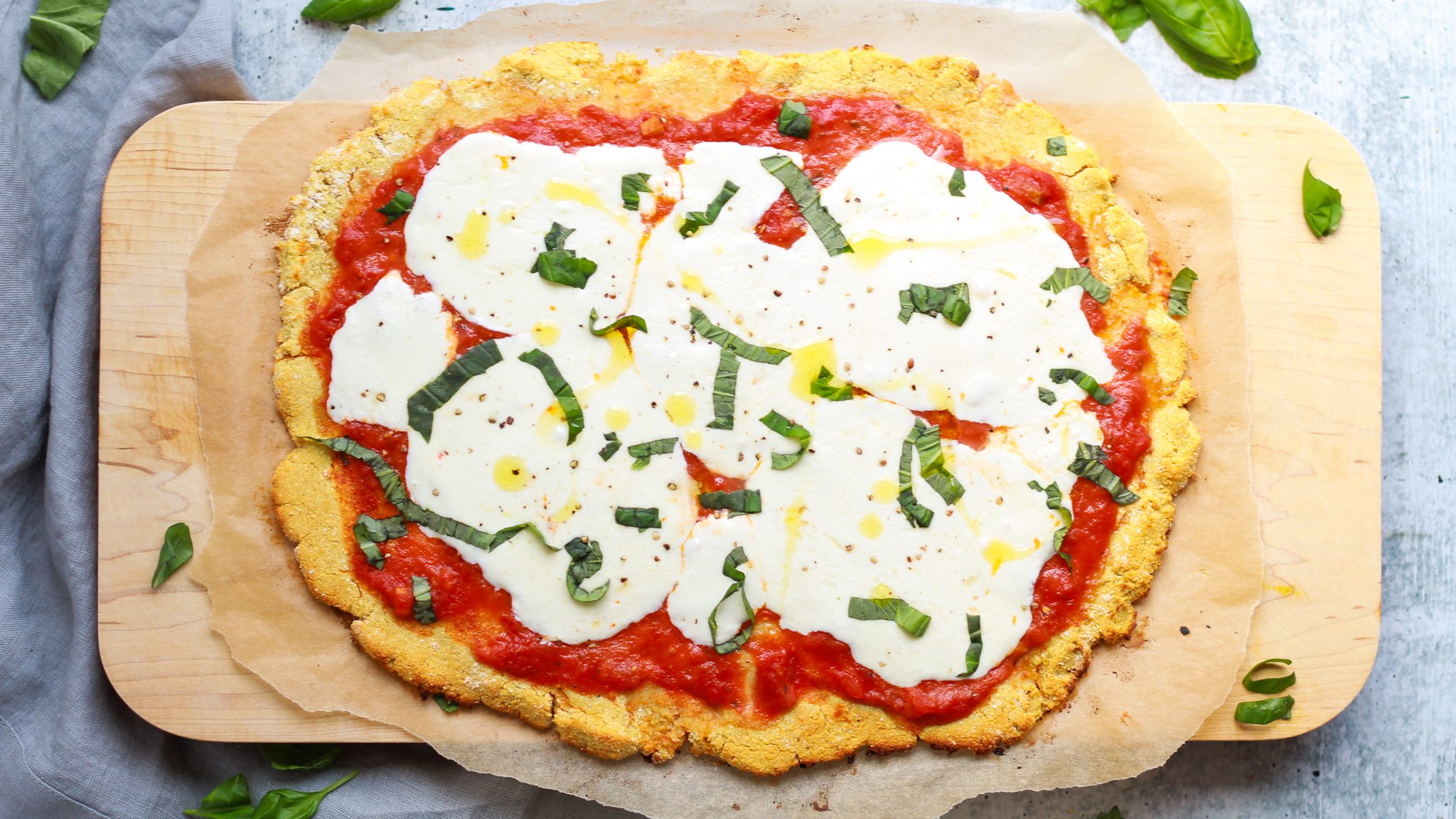 margherita pizza with healthy pizza crust