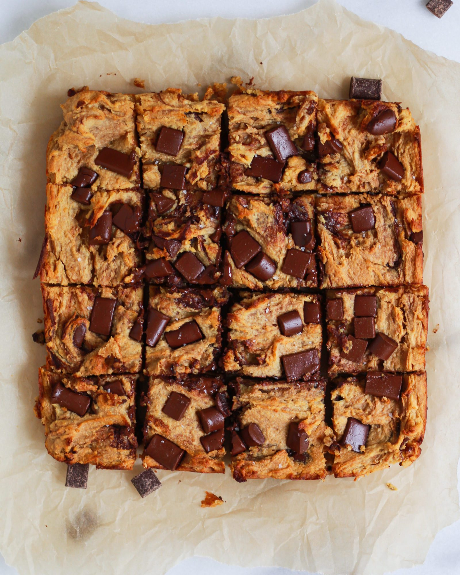 chocolate chip blondies sliced into 16ths