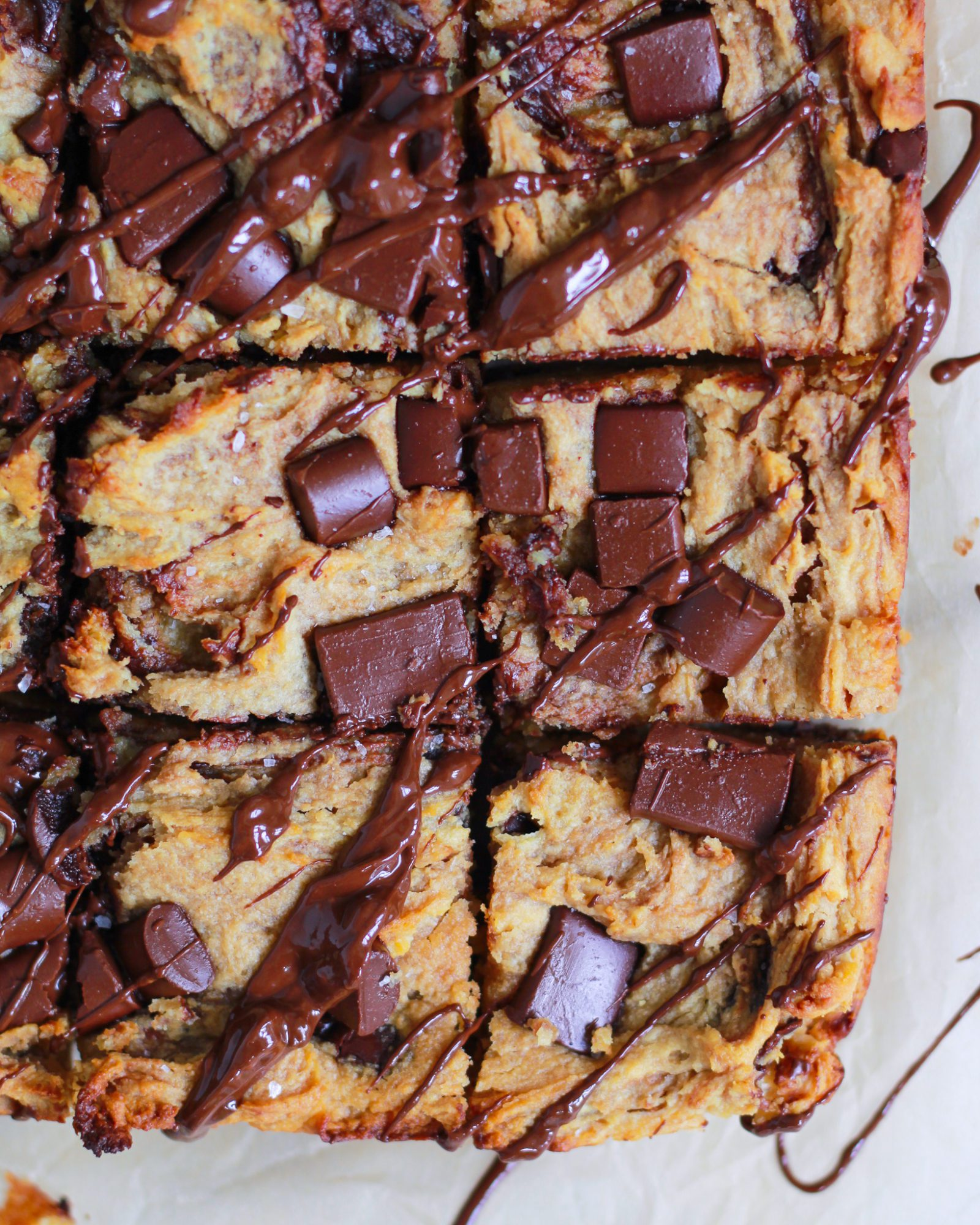 close up of paleo chocolate chip blondies drizzled in chocolate