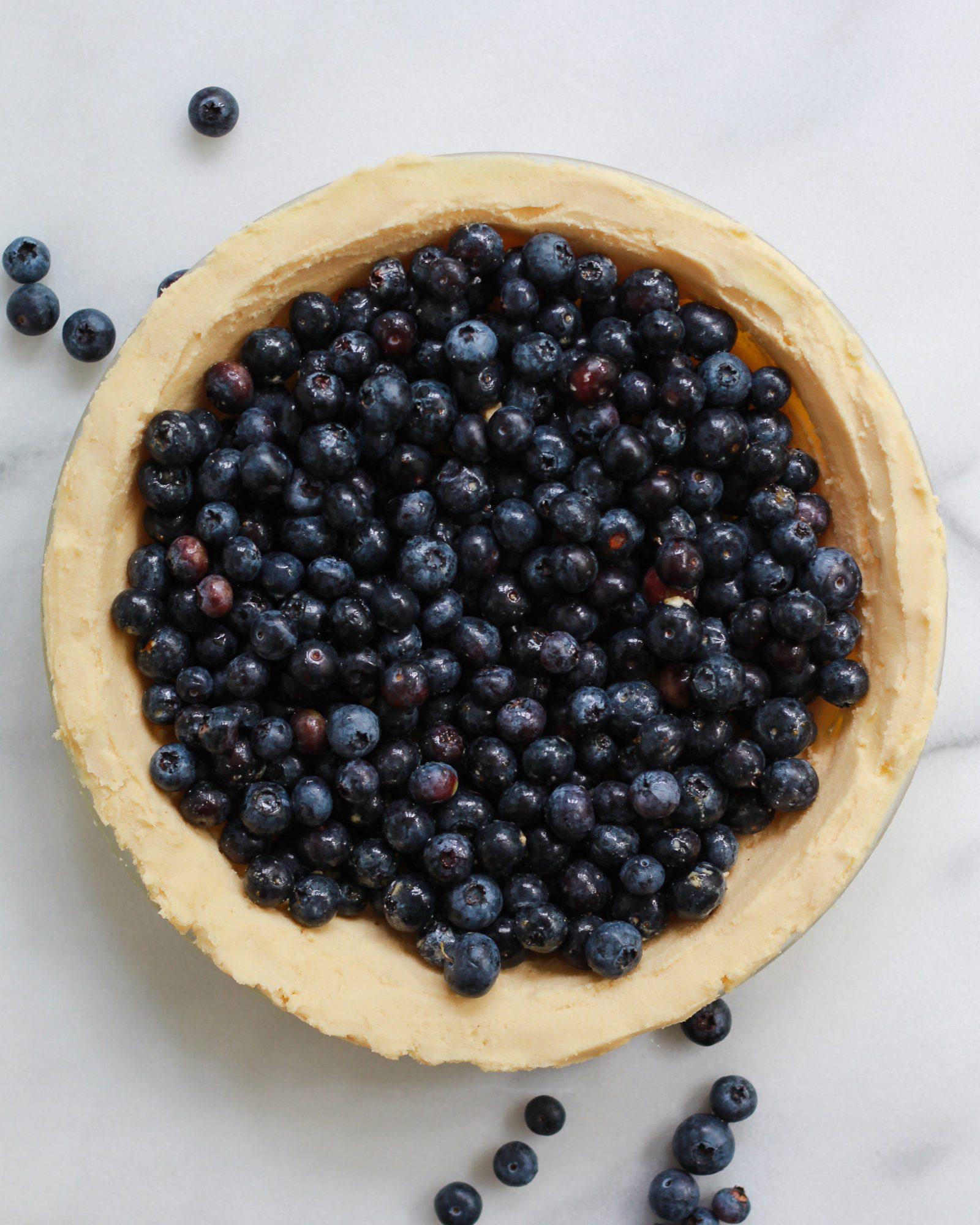 blueberry pie filling in crust