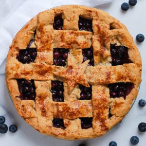 paleo blueberry pie with lattice crust