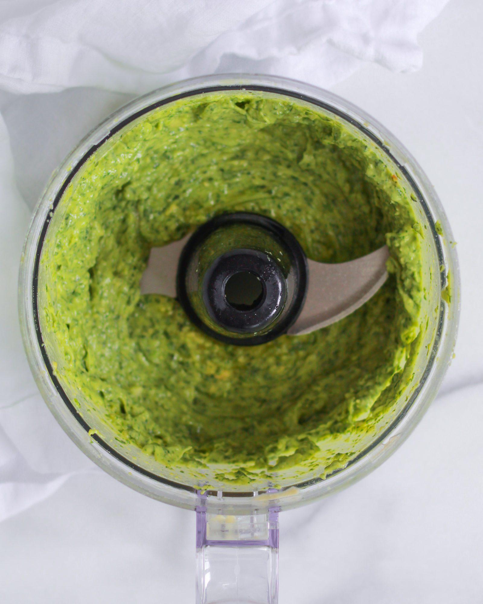 avocado pesto in food processor