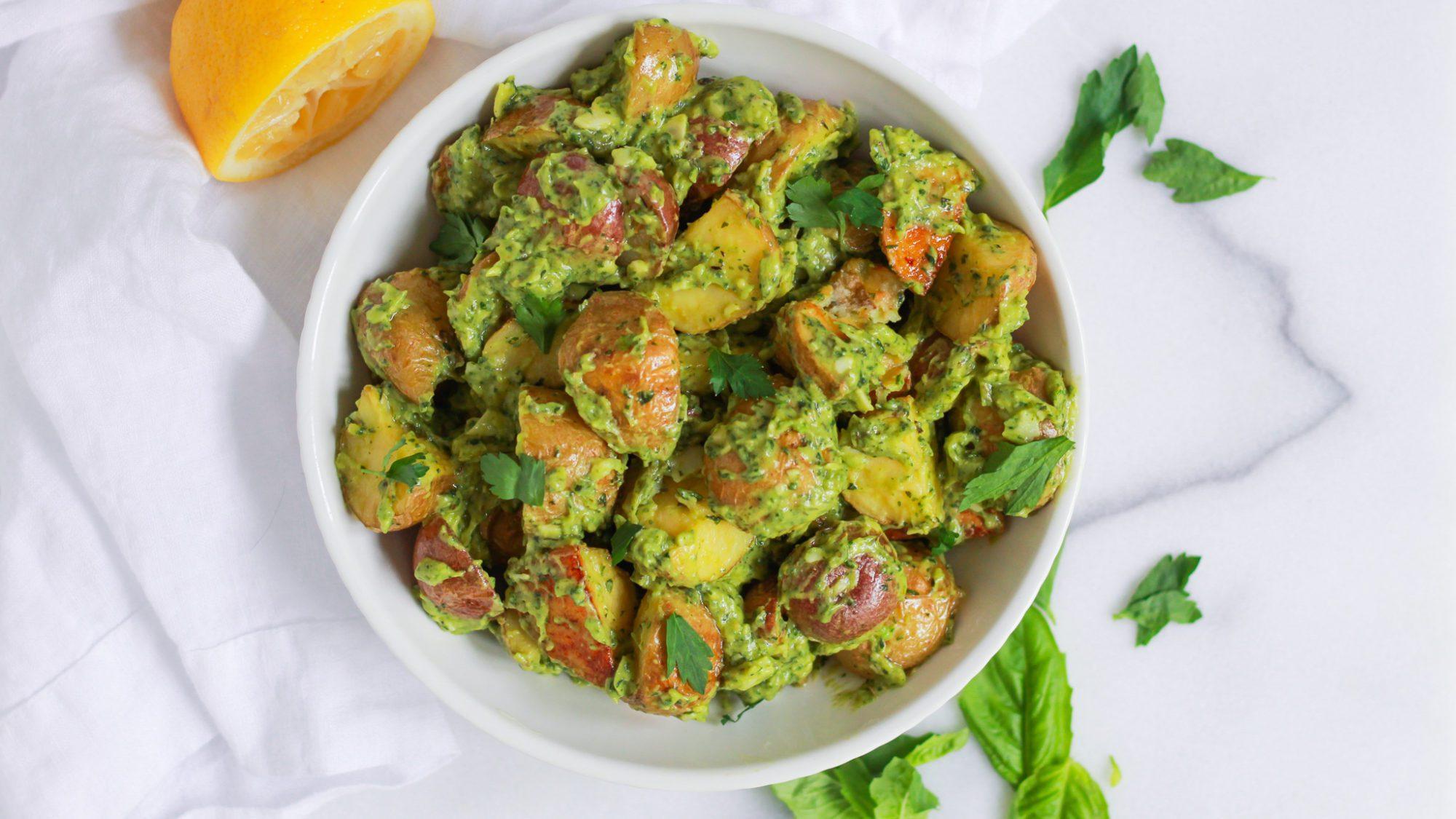 header of herbed potato salad