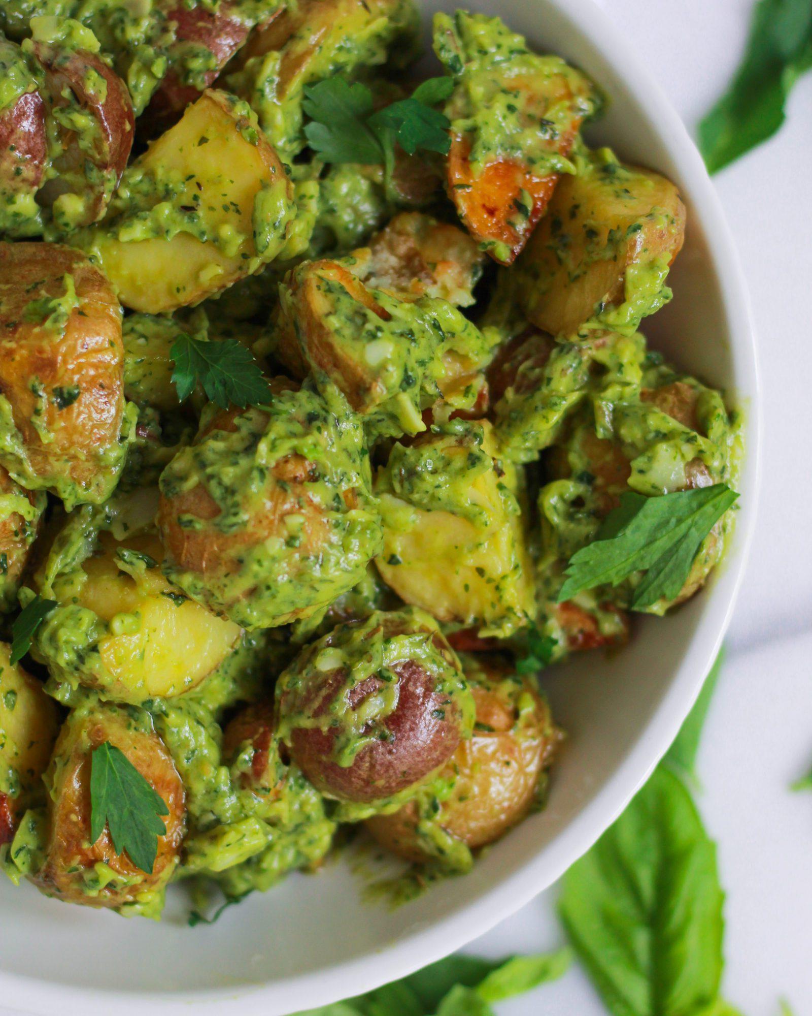 close up of herbed potato salad