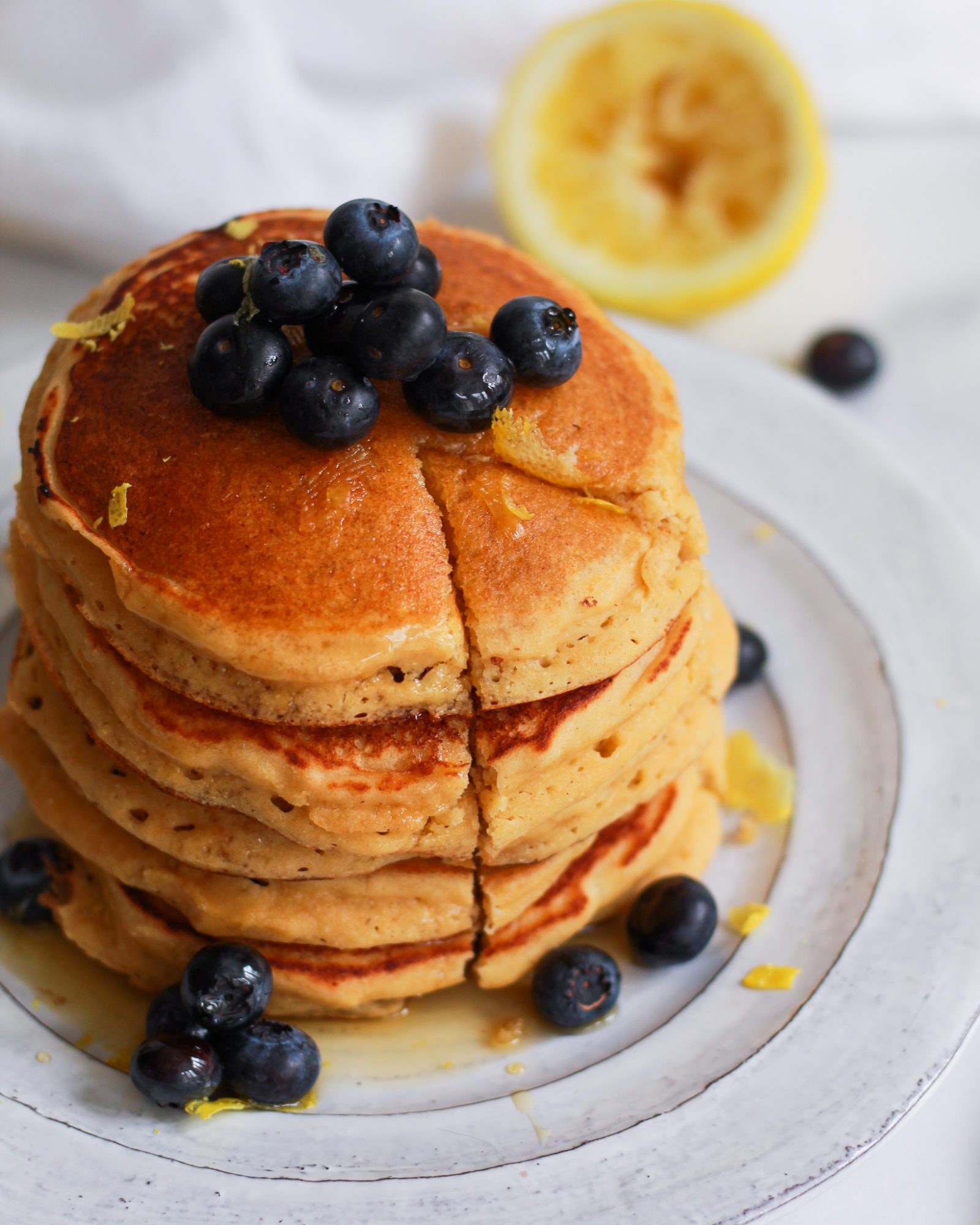 slice out of lemon ricotta pancakes