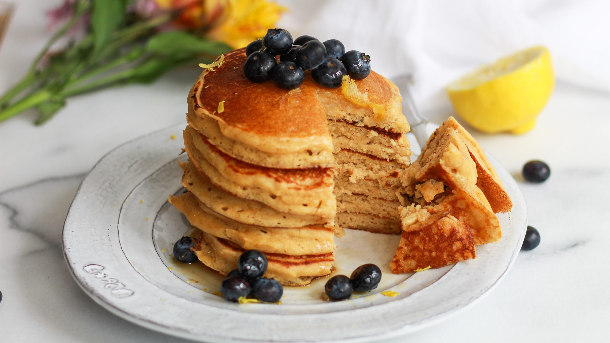 header of lemon pancakes