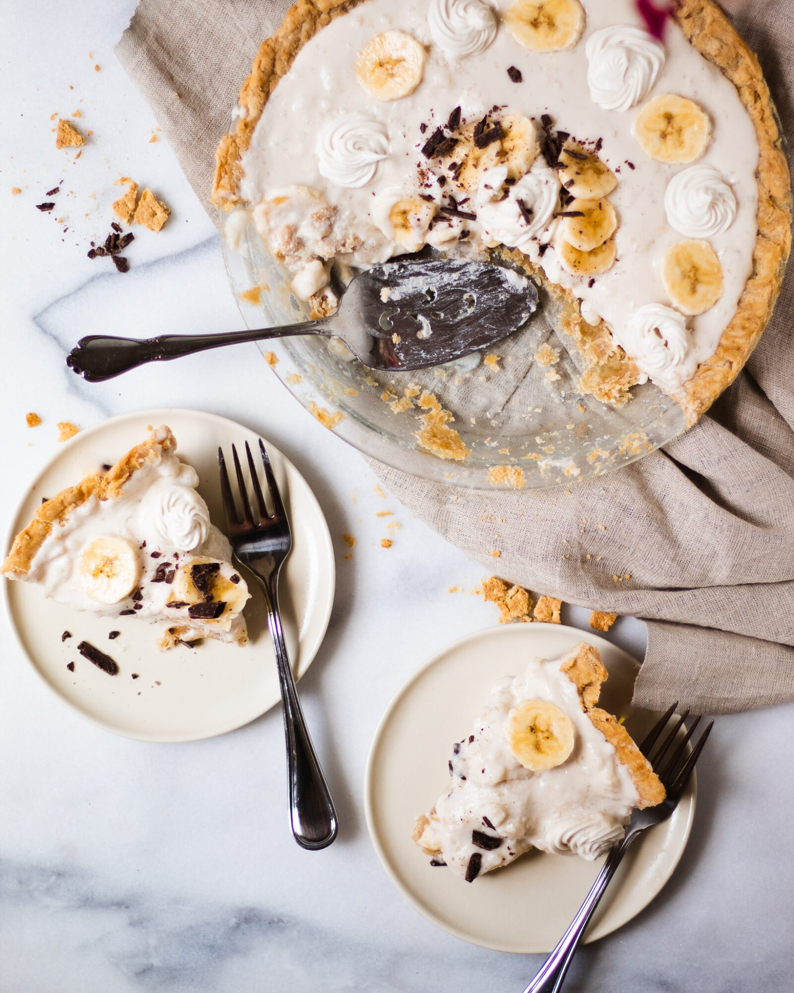 overhead of banana cream pie scene