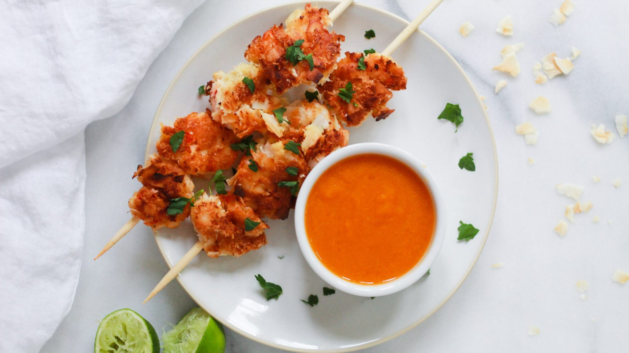 header of paleo coconut shrimp