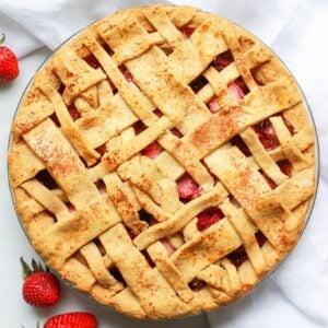 Paleo strawberry rhubarb pie with lattice crust