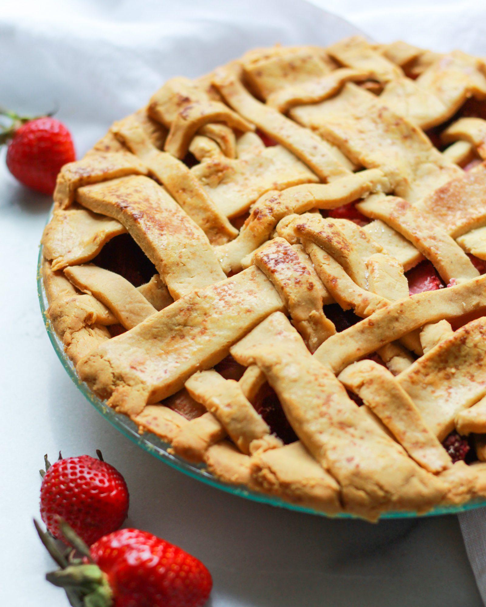 side view of paleo strawberry rhubarb pie