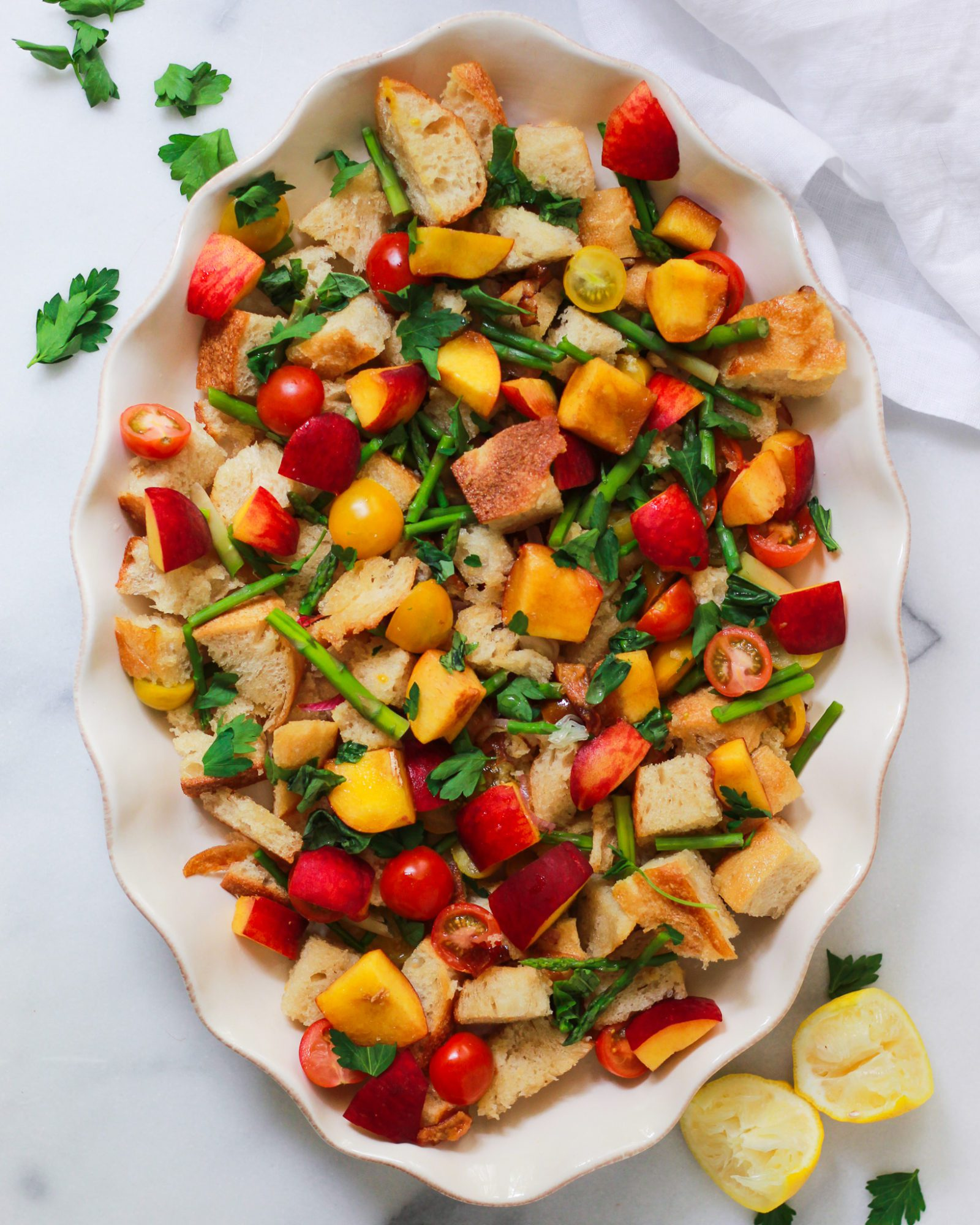 finished panzanella salad in deep dish serving bowl