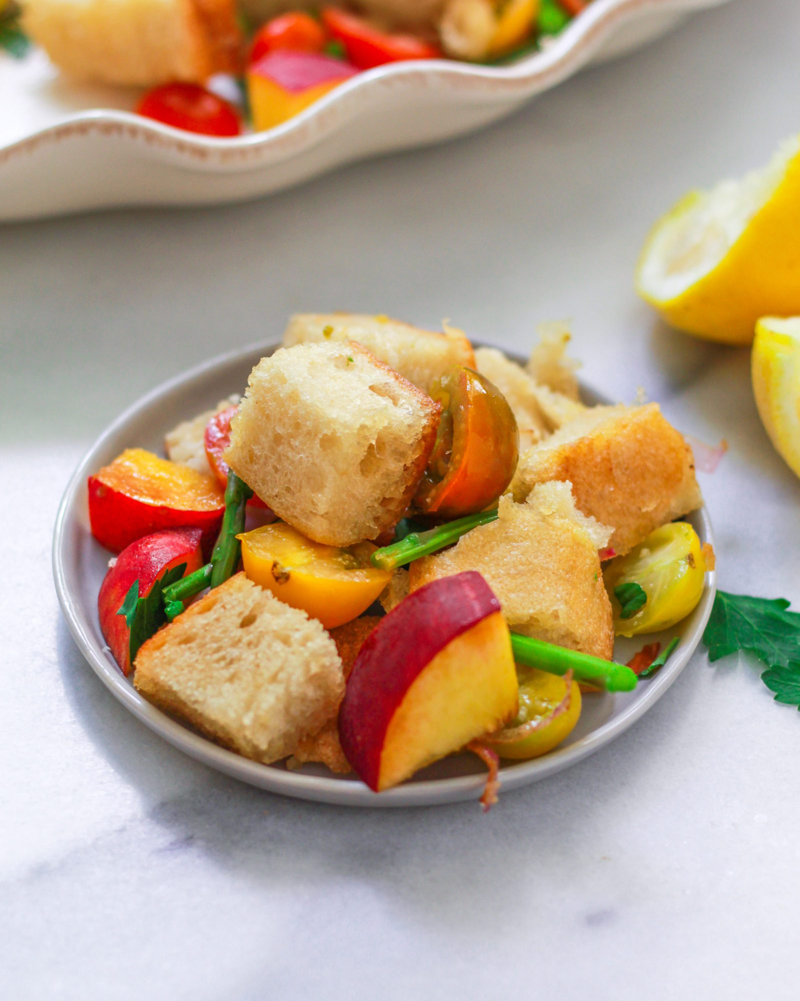 small plate of panzanella salad