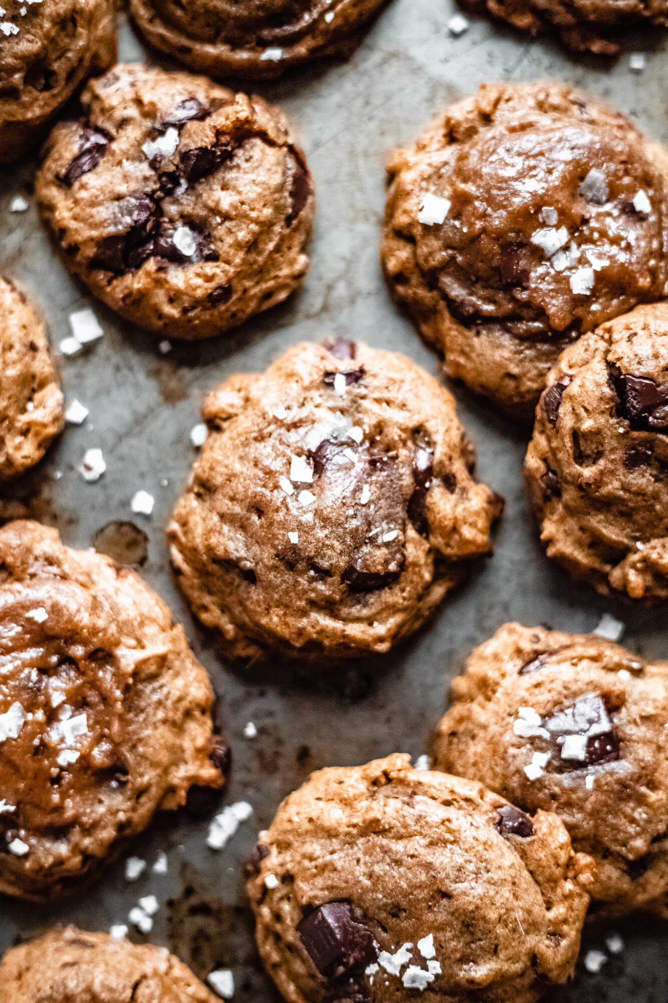 overhead of chocolate chip cookies made from applesauce