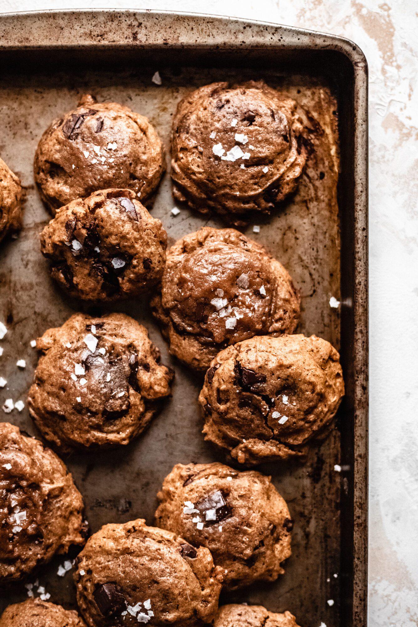 vegan chocolate chip cookies on baking sheet