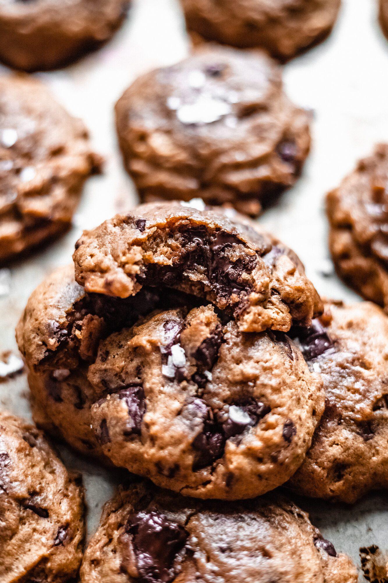 biten chocolate chip cookies made from applesauce