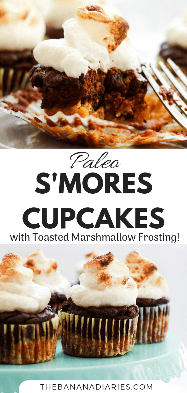 pinterest image for s'mores cupcakes