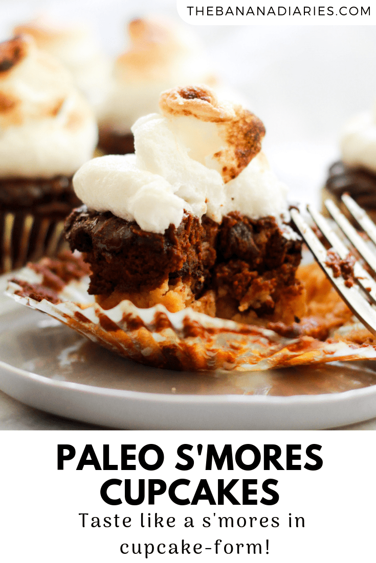 Pinterest image for smores cupcakes