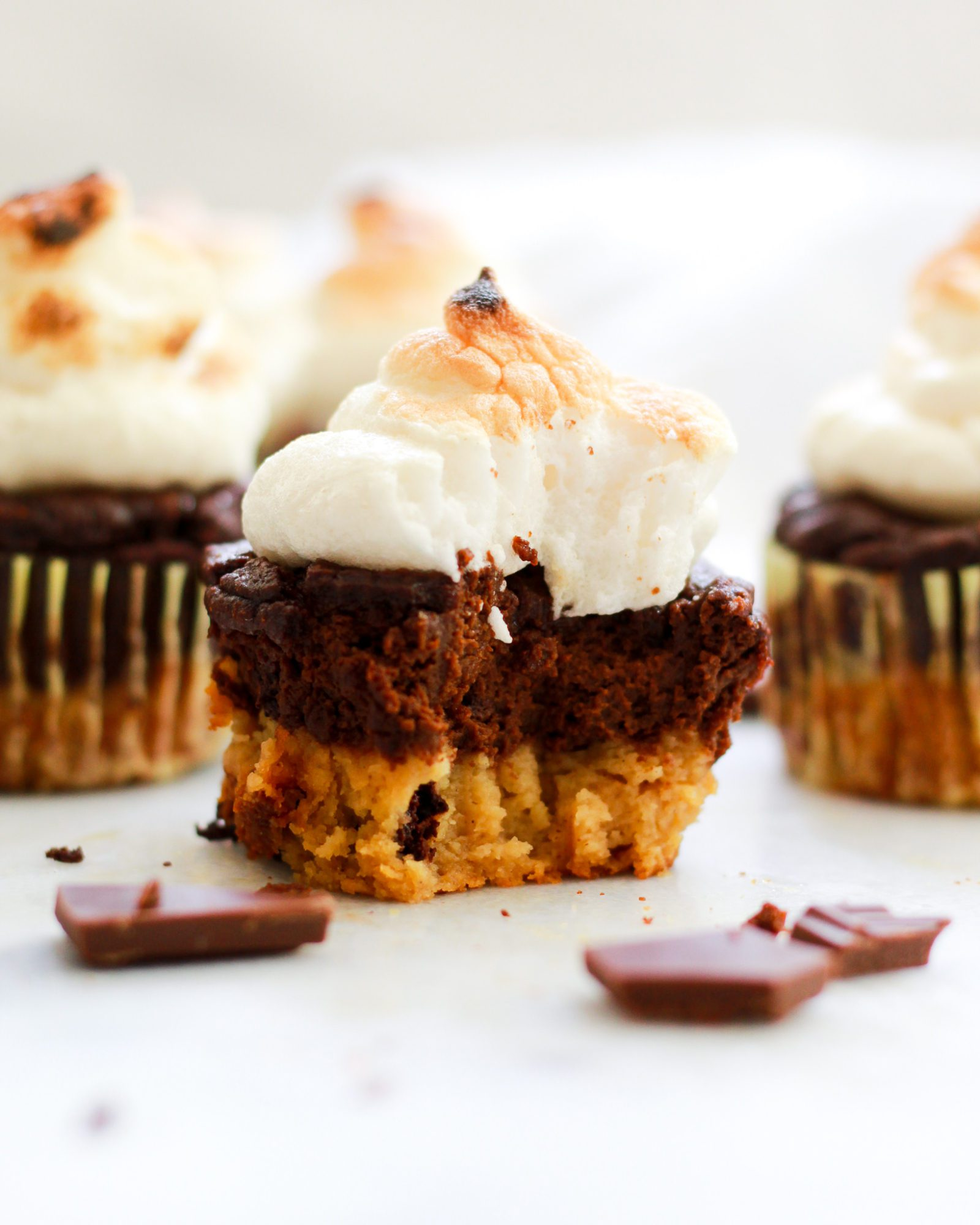 paleo s'mores cupcake on white marble
