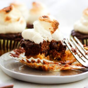 plate with Paleo s'mores cupcakes with bite out of it