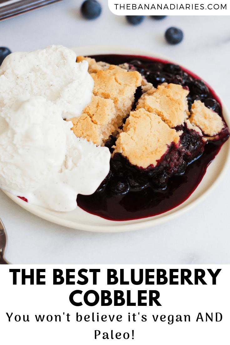 pinterest image for blueberry cobbler