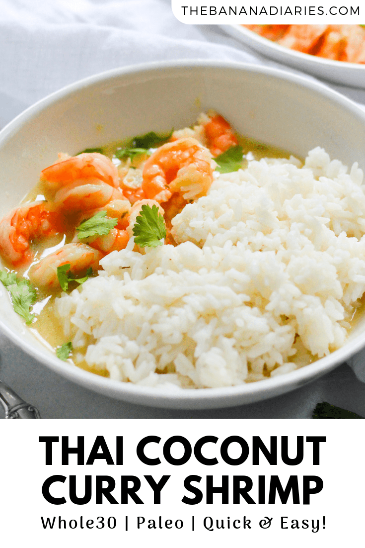 pinterest image for healthy thai coconut curry shrimp