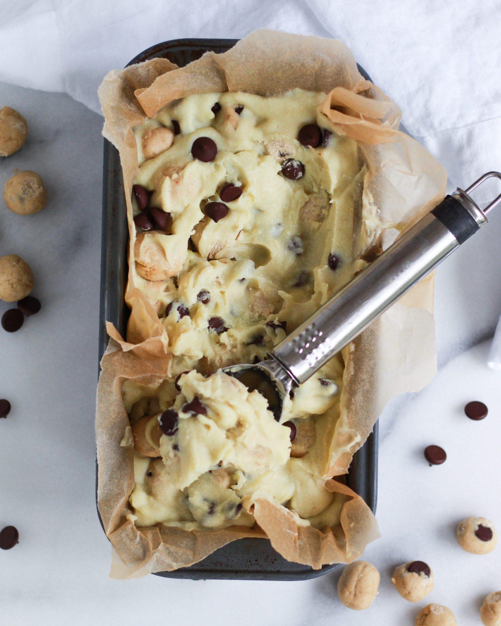 ice cream scoop scooping vegan cookie dough ice cream