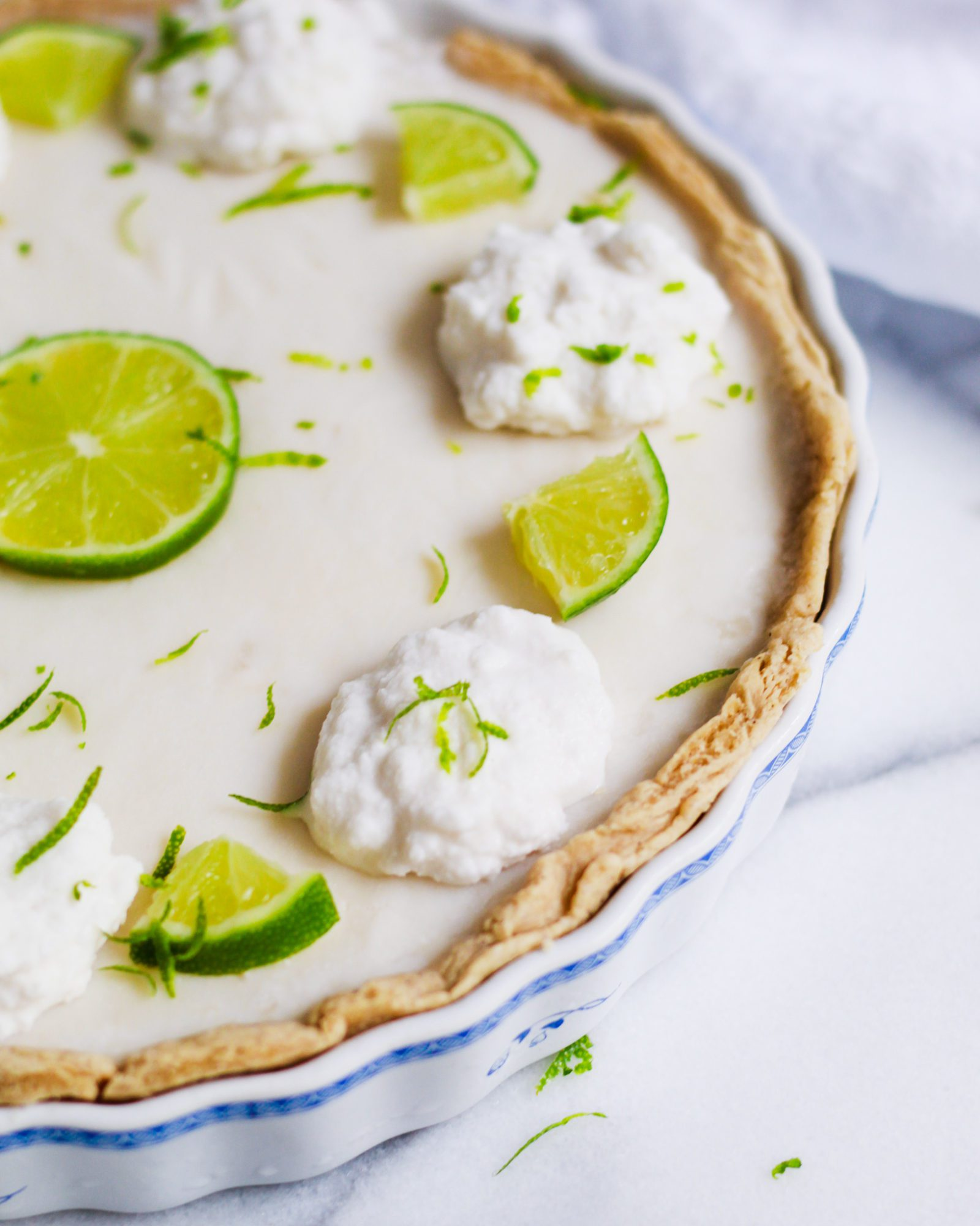 close up of key lime pie