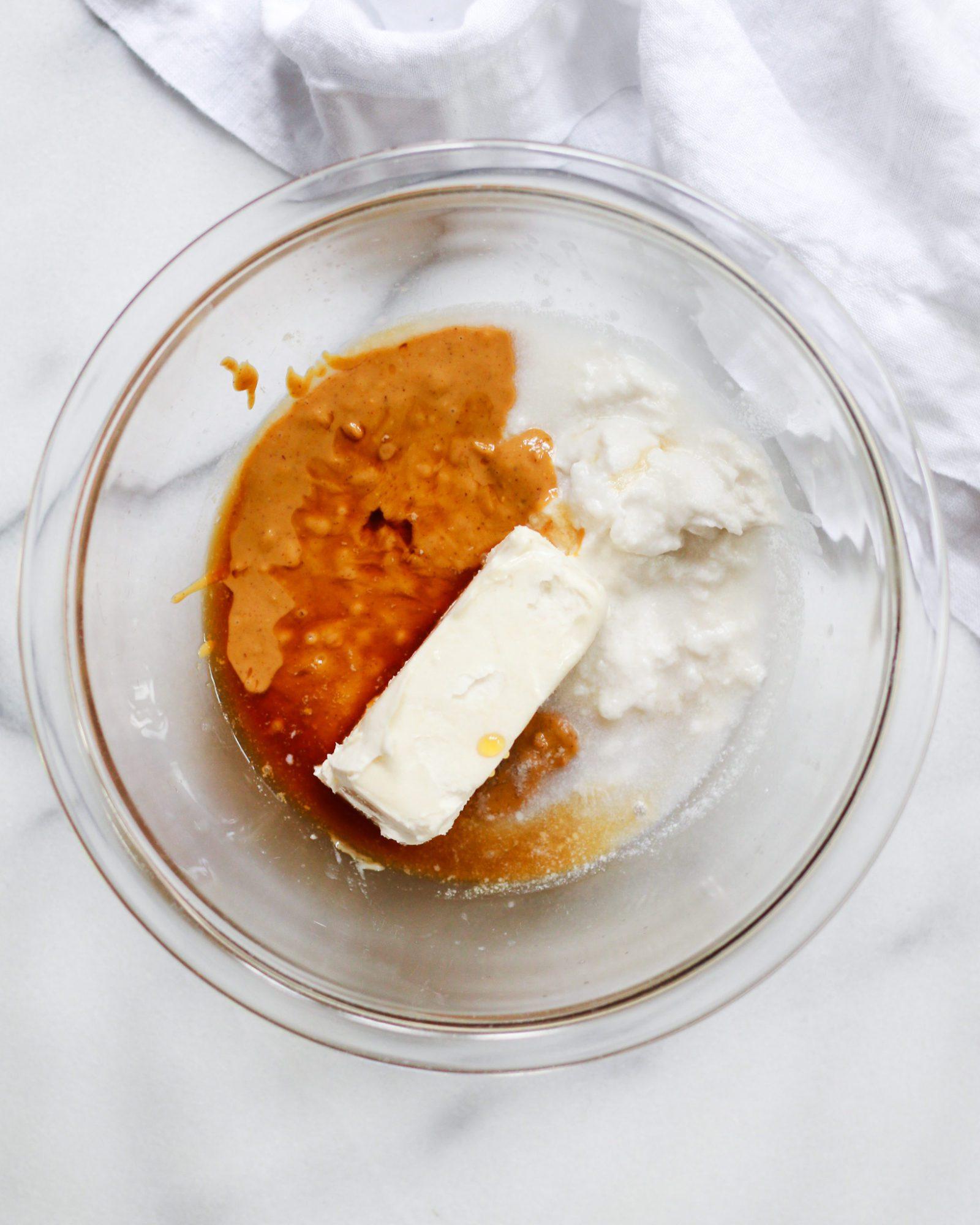 peanut butter swirl ingredients in white bowl