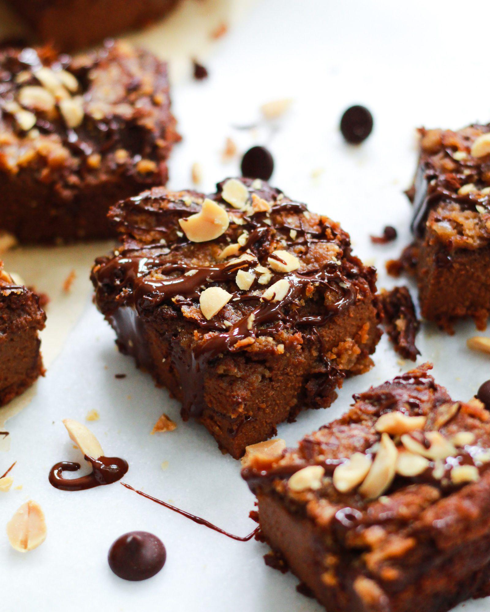 vegan peanut butter swirl brownie drizzled in chocolate