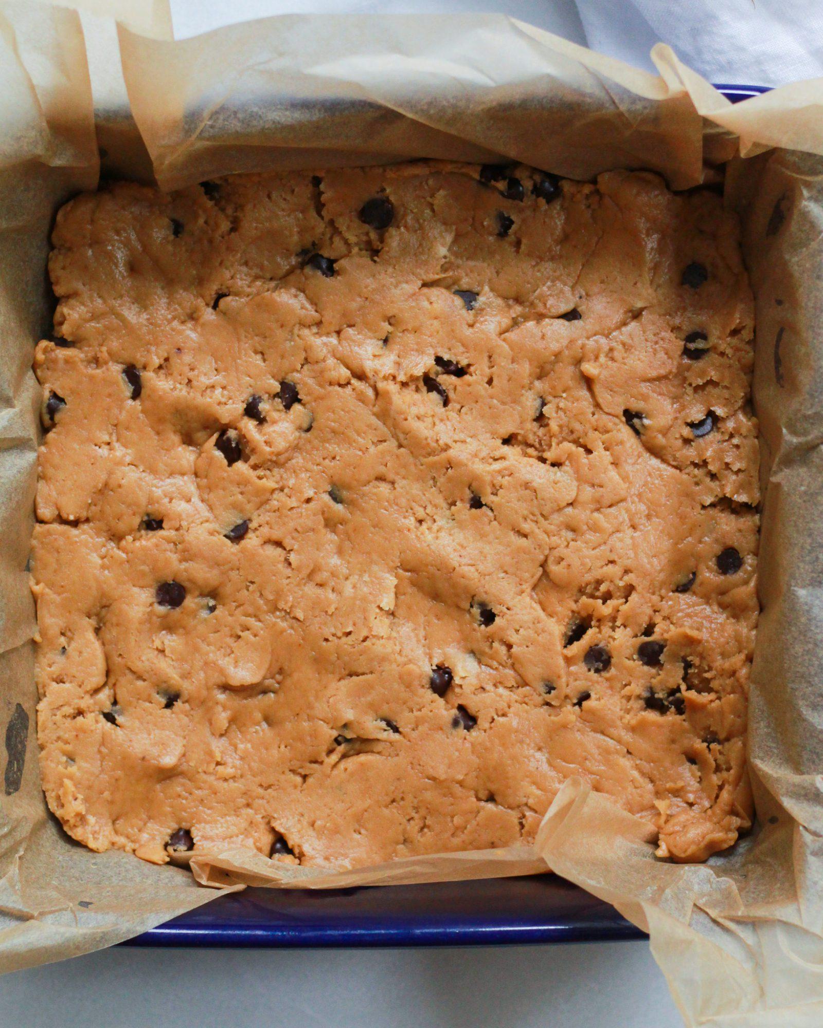 vegan chocolate chip cookie dough in baking dish