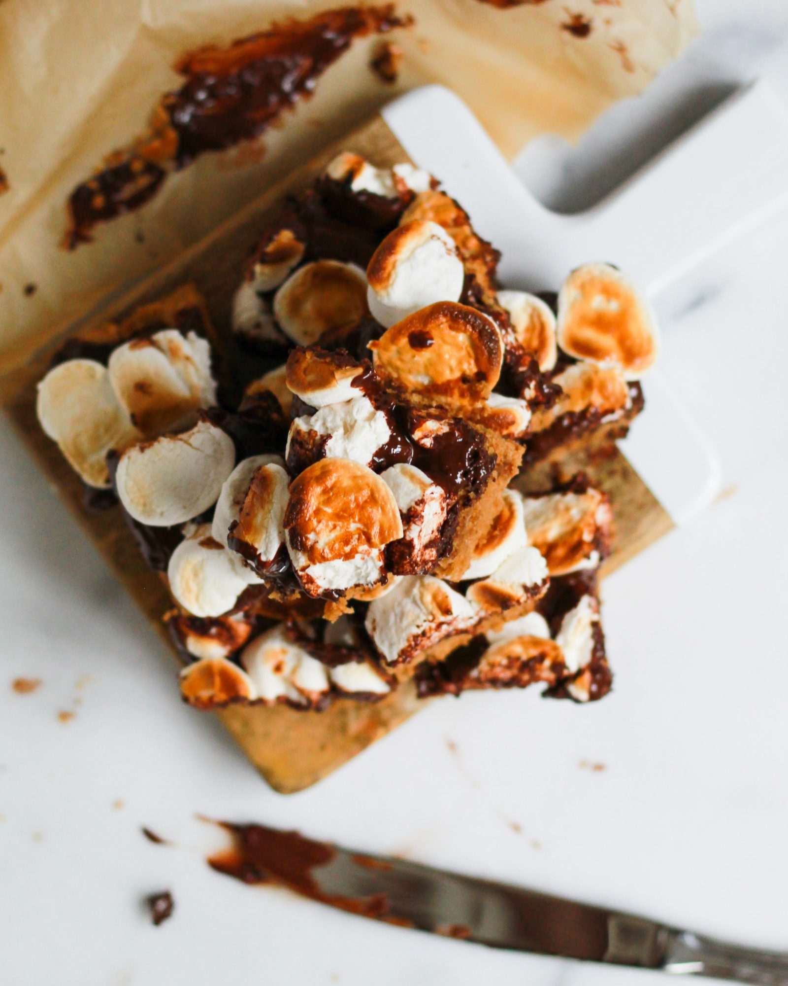 overhead of s'mores bars stacked