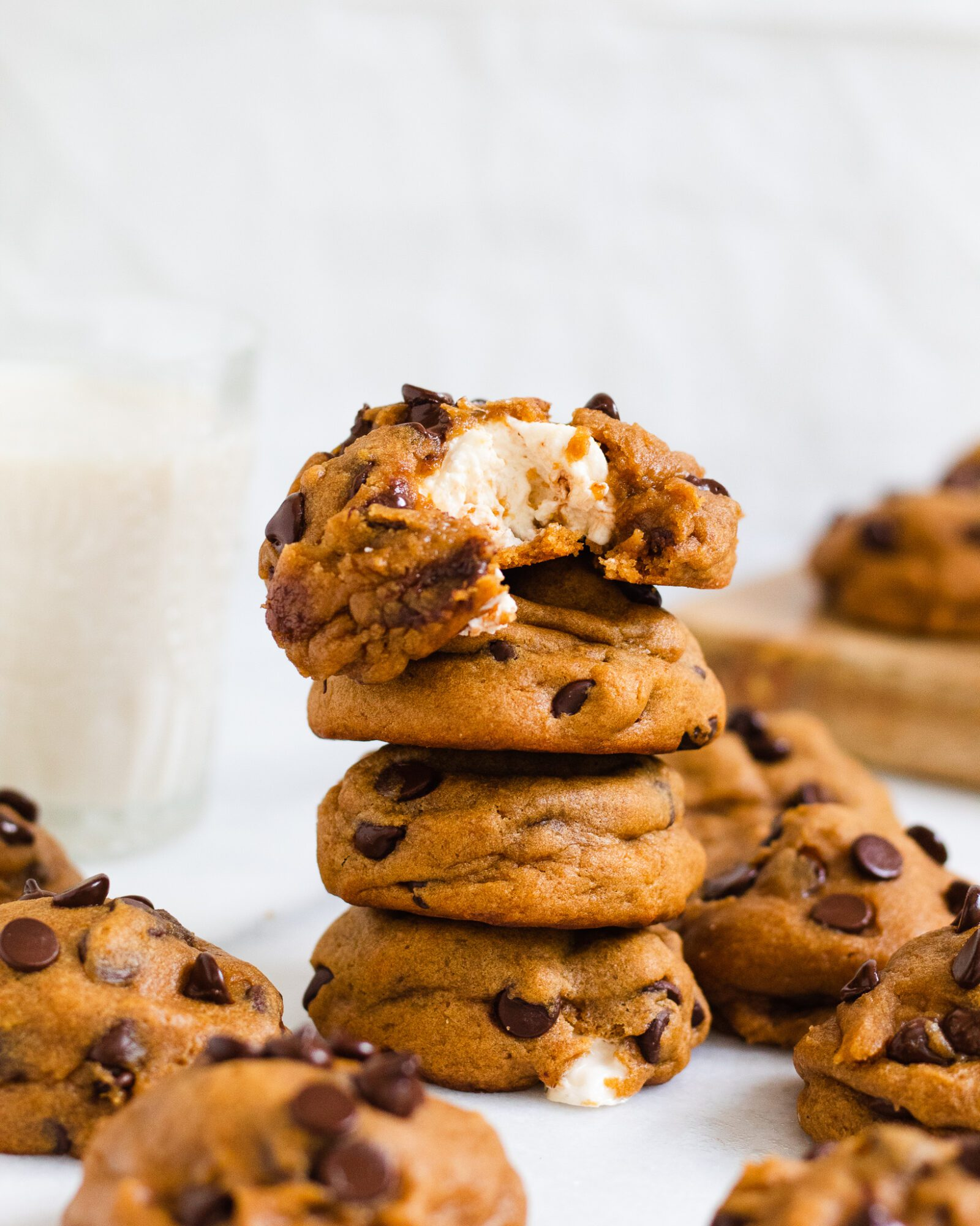 stacked vegan chocolate chip marshmallow cookies