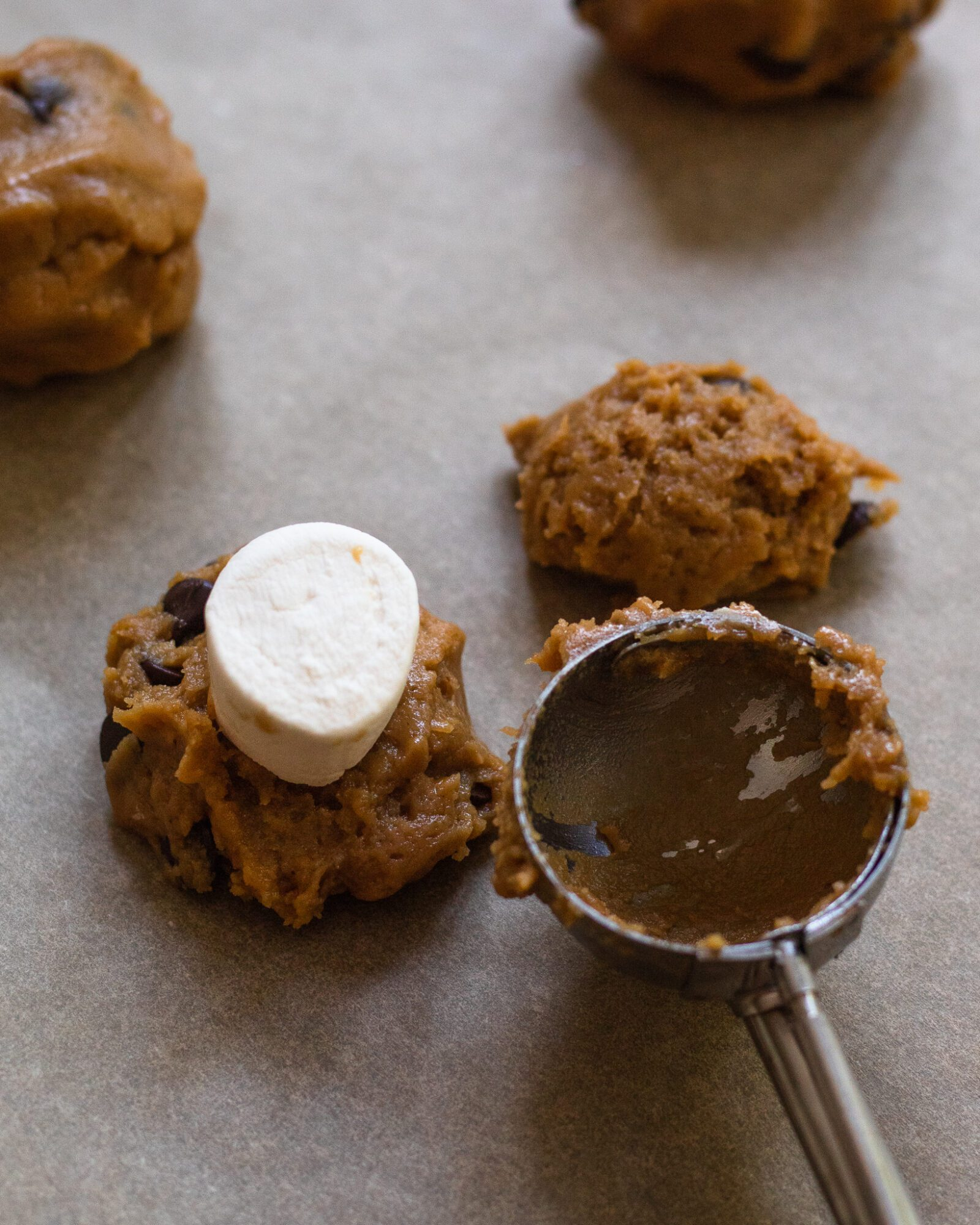 cookie scoop with marshmallow stuffed cookies