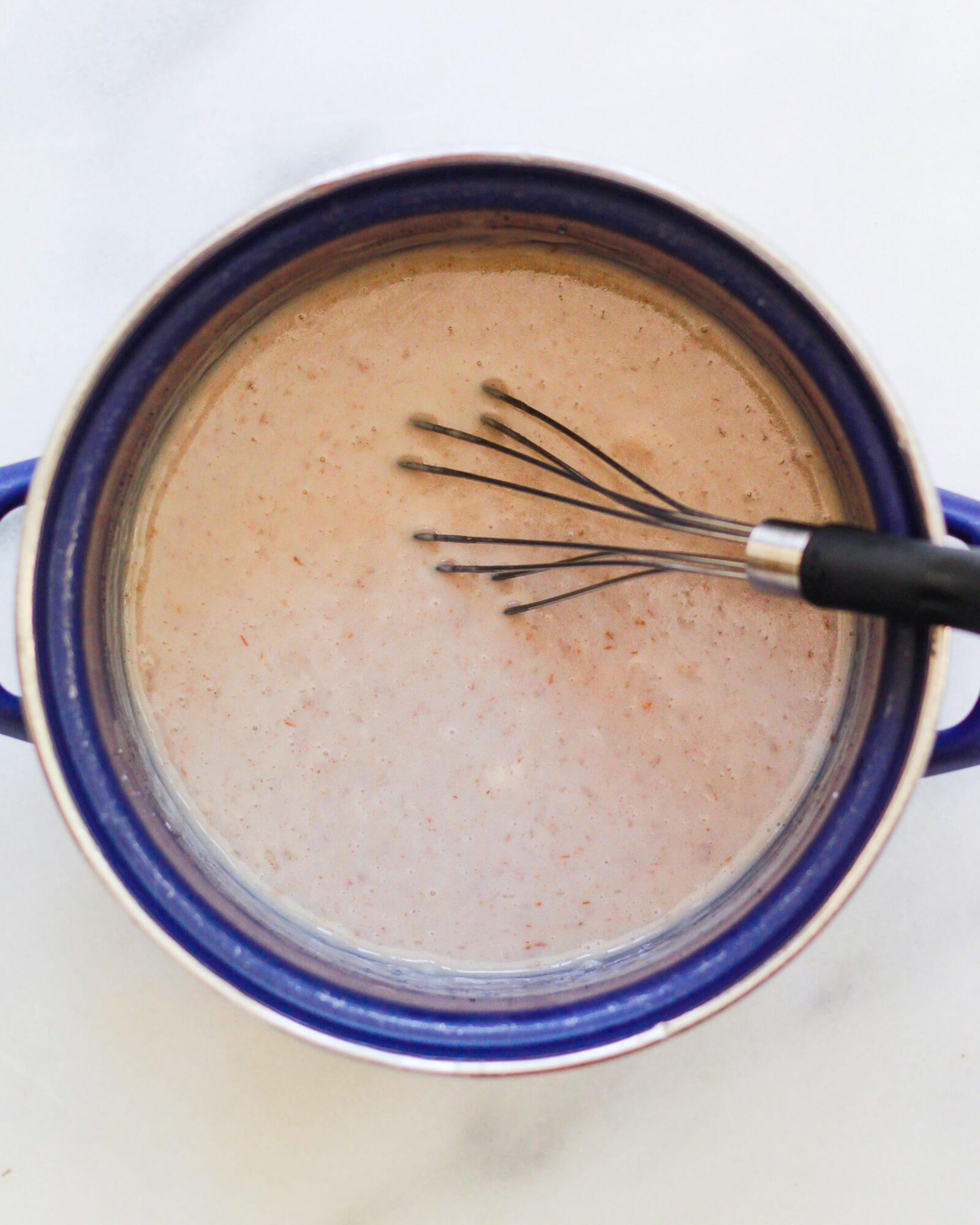 pot with butterscotch pudding