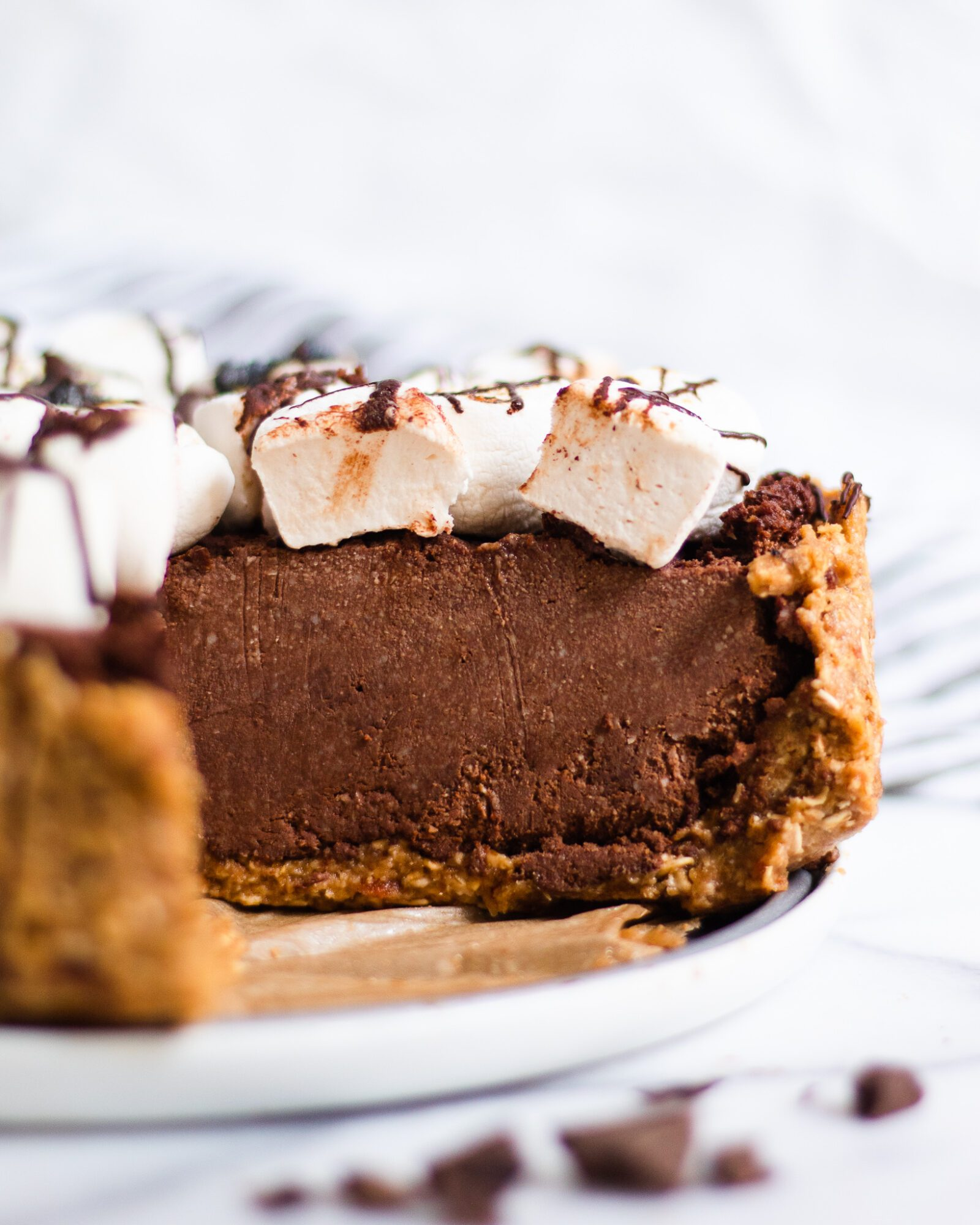 slice of chocolate pie taken out
